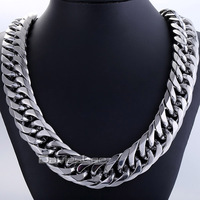 Fashion Gift 18mm Mens Chain Boy Biker Heavy Silver Tone Cut Double Curb Link Rombo 316L Stainless Steel Necklace Jewelry DLHN54