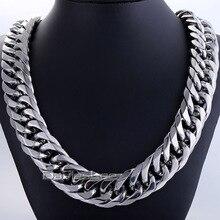 Moda 18mm masculino corrente menino biker pesado prata cor corte duplo curb link rombo 316l aço inoxidável colar jóias dlhn54