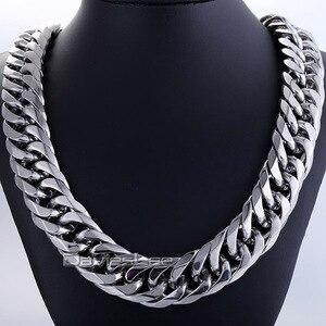 Image 1 - Moda 18mm masculino corrente menino biker pesado prata cor corte duplo curb link rombo 316l aço inoxidável colar jóias dlhn54