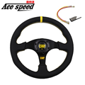 Ace speed-Hight quality 13 Inch Flat OMP Steering Wheel With Yellow Strip 13'' Real Leather Car Steering Wheel