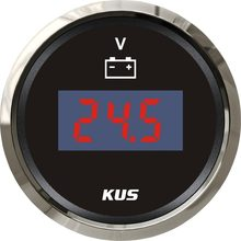New KUS 52mm Digital Voltmeter Motor Auto Volt Gauge 12V 24V Meter With Backlight fit Car Boat Truck Motorcycle Marine(China)