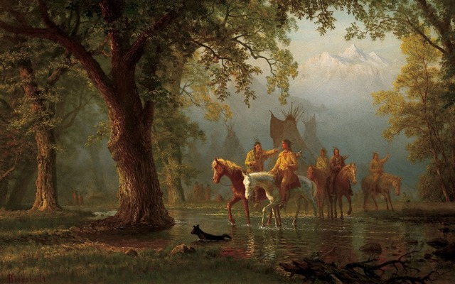 Aliexpress.com : Buy TOP ART Albert Bierstadt, Departure Indian War ...
