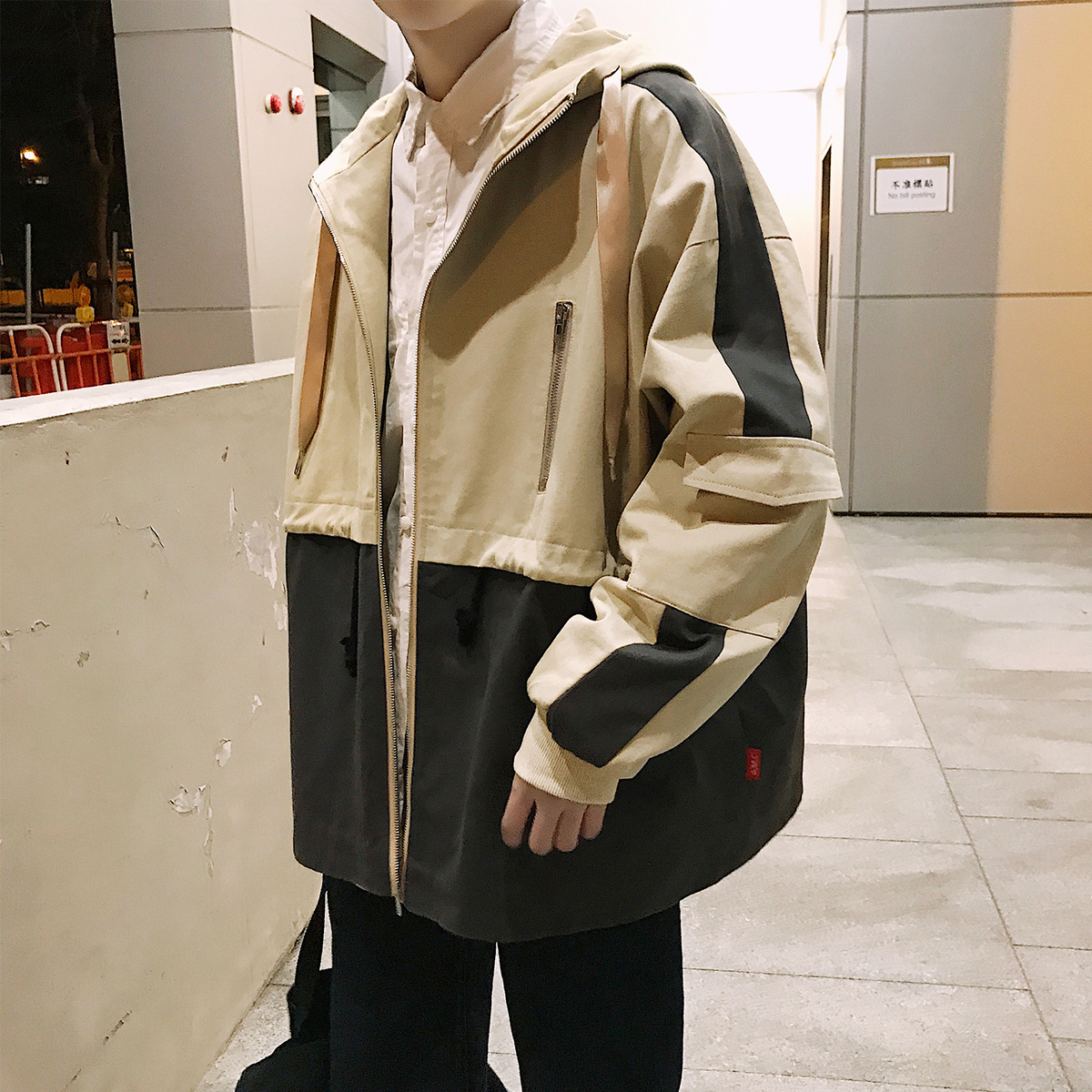 2018 Spring Fashion Casual Japanese Style Embroidery Streetwear Jacket Tide Hooded Solid Color Coat Clothes Male Windbreaker Men