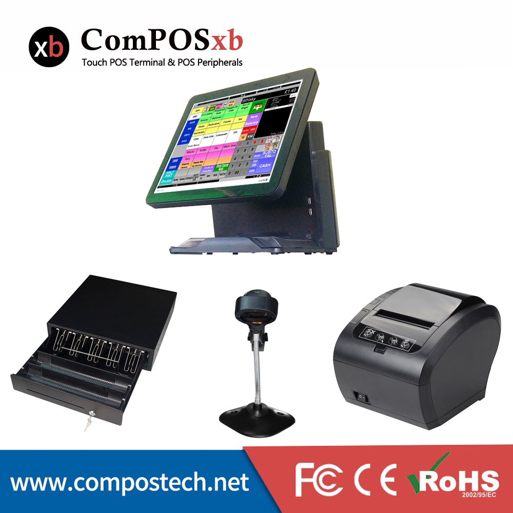 15 Inch Touch Screen Restaurant Pos System/Cash Register/Cashier solution With Printer/Scanner/Cash Drawer Black Color pos all in one nice quality hot sales 12 inch touch cash register pos machine 58mm receipt printer cash drawer barcode scanner