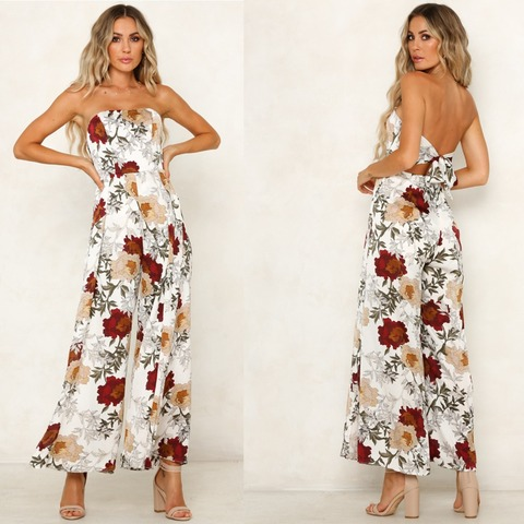 BUYSD Women Off Shoulder Floral Print Sexy Jumpsuits Wide Leg Pants Backless Strappy Playsuits Summer Causal Rompers Bodysuits Islamabad