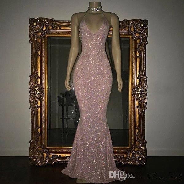 Elegant 2019 Prom Dresses Mermaid Deep V-neck Sequins Sparkle Party Maxys Long Prom Gown Evening Dresses Robe De Soiree