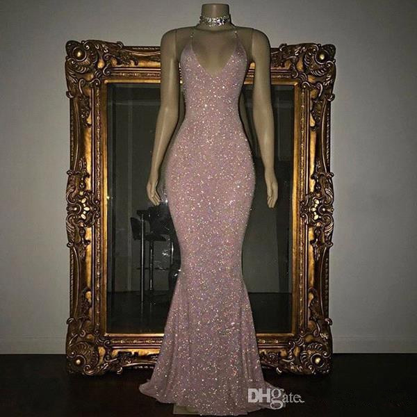 Elegant 2019 Prom Dresses Mermaid Deep V-neck Sequins Sparkle Party Maxys Long Prom Gown Evening Dresses Robe De Soiree