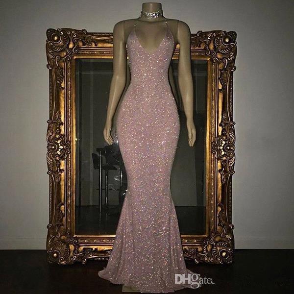 Elegant Prom Dresses Mermaid Deep V-neck Sequins Sparkle Party Maxys Long Prom Gown Evening Dresses Robe De Soiree