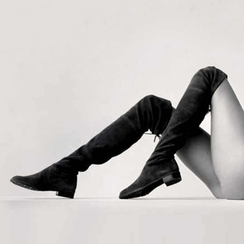 d0fd5082130a83 ... Black Thigh High Boots Women Winter Shoes Flat Stretch Retro Leather  Gray Sexy Snow Shoes Women ...