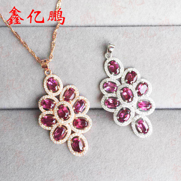 925 silver tower with natural garnet pendants female