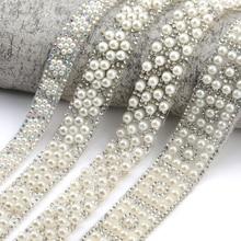 QIAO 1 ярд/лот ABS круглые жемчужные бусины отделка стразы украшение Стразы Лента кристалл аппликации для одежды обувь изготовления