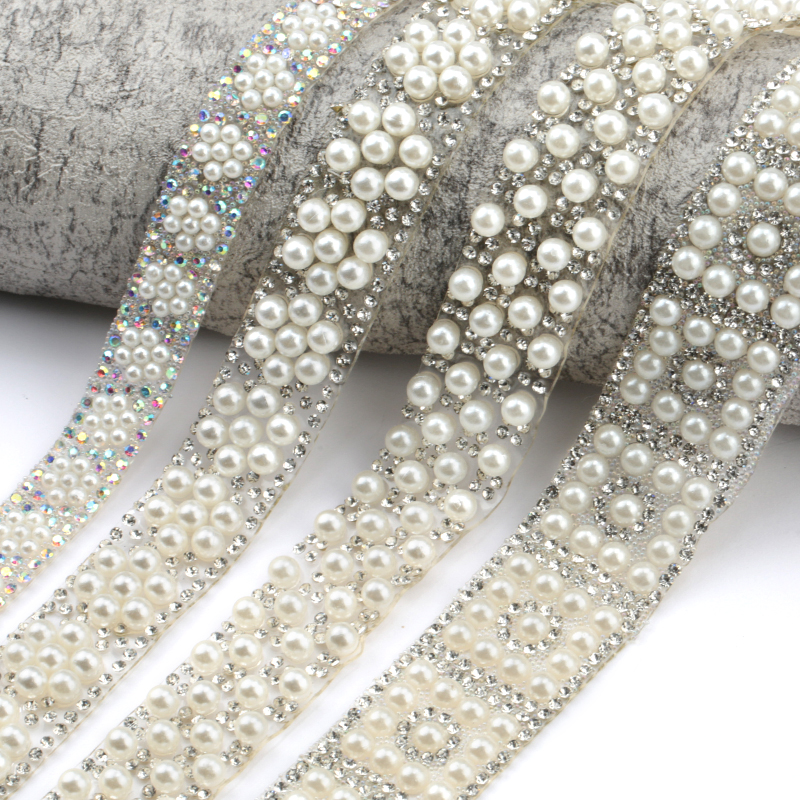 QIAO 1 Yard/lot ABS Round Pearl Beads Trim Rhinestone Decoration Strass Ribbon Crystal Appliques For Clothes Shoes Making