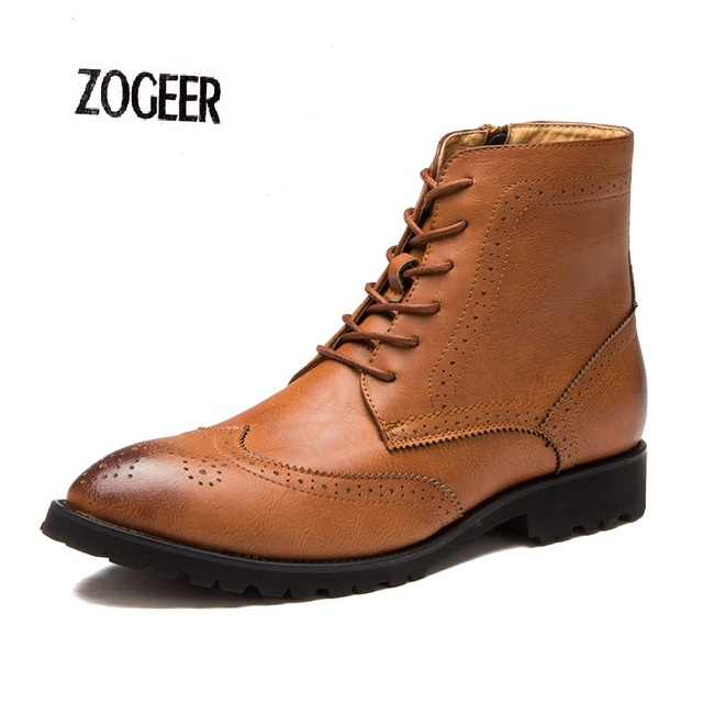 Мужчины Сапоги Удобные Черный Коричневый Резные Акцентом Ботильоны Модные Туфли Баллок Повседневная Мужчины Zip Открыть Кожа Зимняя Обувь