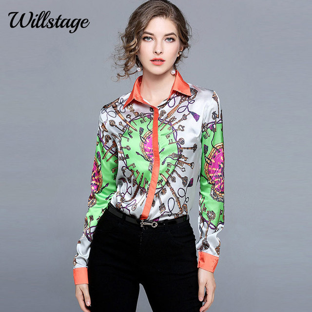 01293b6fc32 Willstage Pattern Shirts Women Keys Printed Colorful Blouse Patchwork  Office Ladies OL Shirt Work wear New