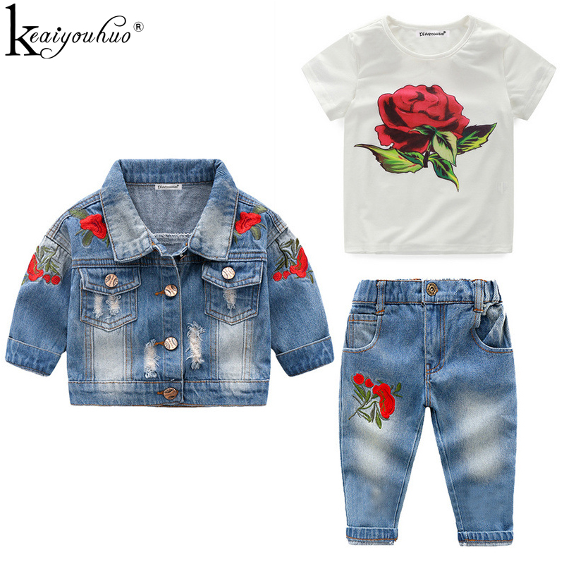 High Quality 2018 Girls Clothes Sets Autumn Winter Denim Girls Outfit Suits Costume For Kids Clothes 3Pcs Children Clothing Sets children boys clothes 2018 autumn winter girls clothes batman costume hoodie pant outfit kids sport suit for girls clothing sets