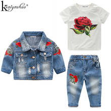 High Quality 2019 Girls Clothes Sets Autumn Winter Denim Girls Outfit Suits Costume For Kids Clothes 3Pcs Children Clothing Sets cheap Turn-down Collar Regular KEAIYOUHUO Full Coat Fits true to size take your normal size Floral Cotton Pullover Casual 80-90-100-110-120