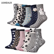 JUMEAUX Lovely Cat Dog Socks Women Cotton Funny Dot Striped Socks for Summer Casual Sox Female