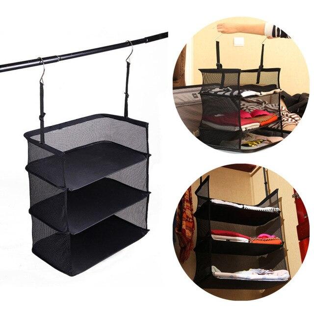 3 Shelf Collapsible Hanging Organizer Closet Clothes