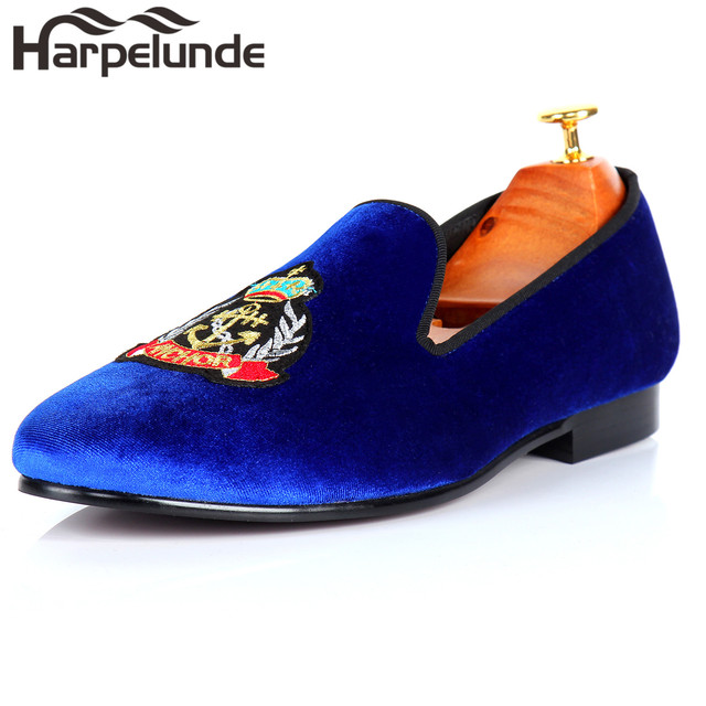 23cb17a9cb9 Harpelunde Men Blue Velvet Loafers Smoking Slippers Handmade Casual Shoes  Fashion Footwear Size 6-14
