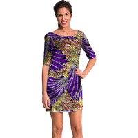 Африканская мода узор платья Половина рукава дизайн ужин воск Женщин Дашики Африка одежда праздничное платье Свадебные/Танцы
