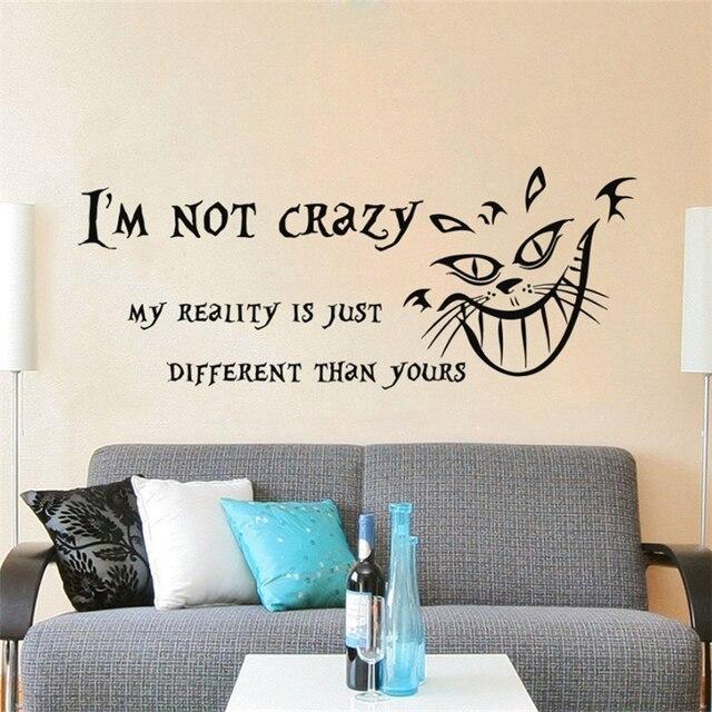 Modern Design Alice in Wonderland Wall Decal Quote Vinyl Sticker ...