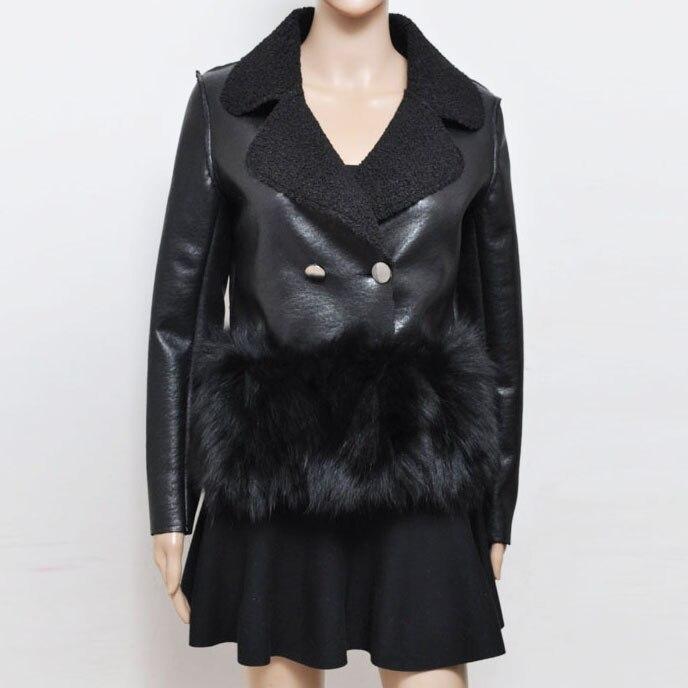 Mujer Cordero Piel Cuero Invierno Fox De Chaqueta Abrigo Caliente qORXp