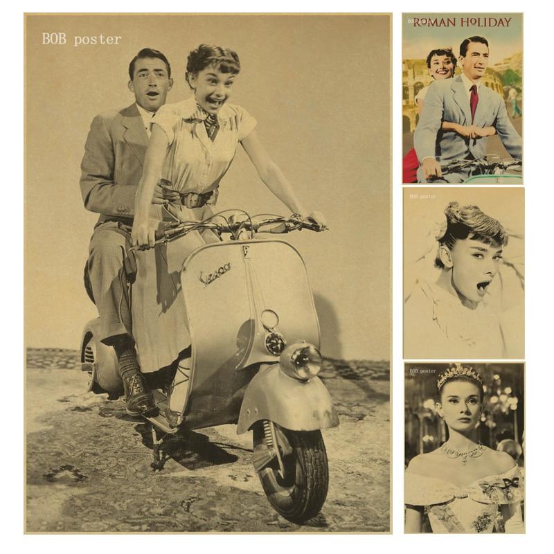 movie roman holiday audrey hepburn poster retro kraft
