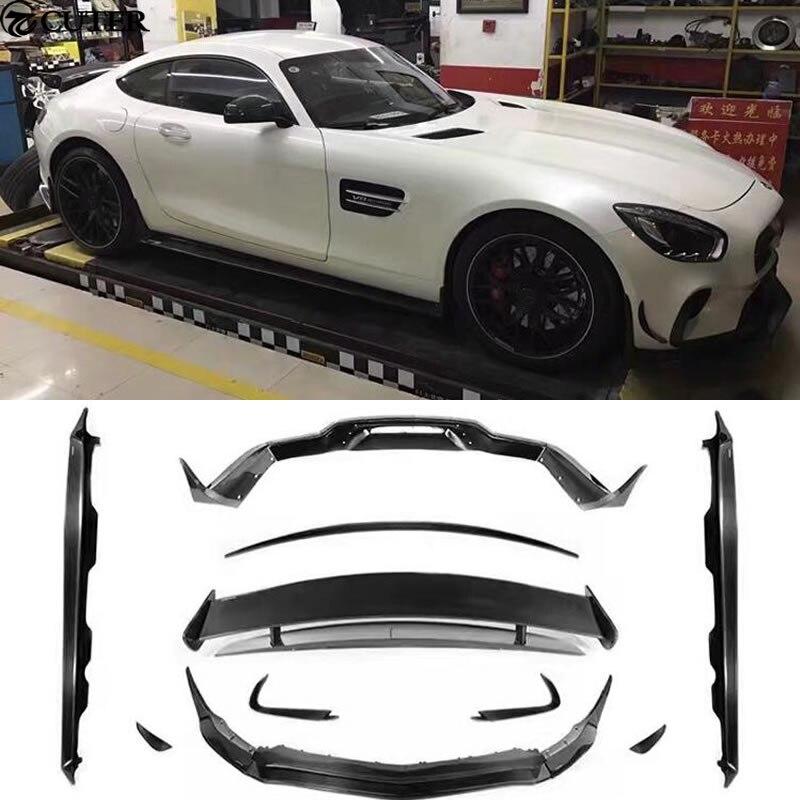 AMG GT GTS Комплект кузова углеродного волокна переднего бампера для губ задний диффузор сбоку юбки задний спойлер для mercedes benz AMG GT GTS 15-16