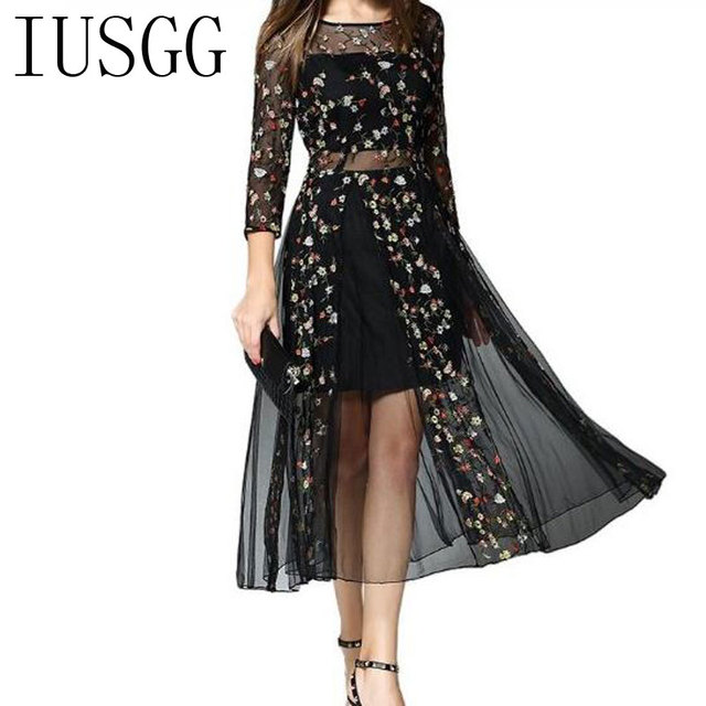 bbe5b1aa710 Top Quality Plus Size Mesh Dress for Women Summer Embroidered Gauze Dress  Floral Perspective Sexy Style
