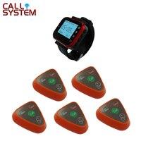 5 pièces 3 boutons avec 1 montre à main récepteur serveur bouton d'appel système équipement sans fil equipment waiter calling system   -