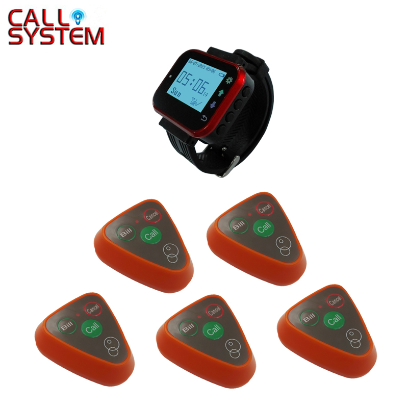 Cheapest 3-button with hand watch receiver Waiter Call Buzzer System Wireless Equipment service call bell pager system 4pcs of wrist watch receiver and 20pcs table buzzer button with single key