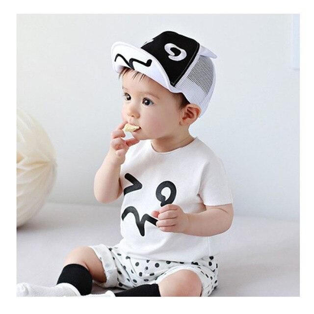 Estate del bambino del Cappello Bianco e Nero Berretto Da Baseball Del Bambino  Cappelli Del Bambino ... 10201c040b2f
