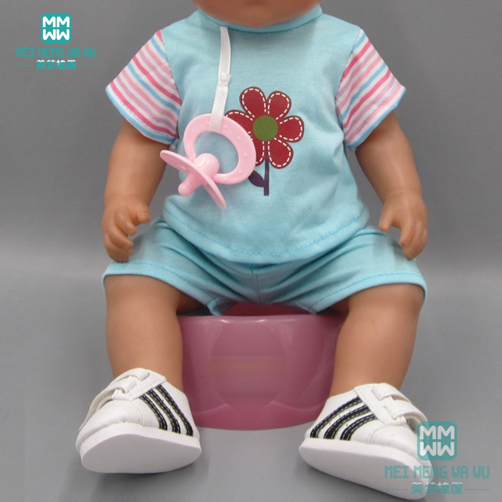 Doll Clothes For 43cm Toy New Born Doll Accessories Sky Blue T-shirt Shorts Hair Band And Baby Pacifier
