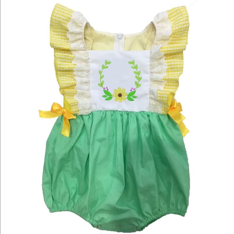 Puresun Baby Girl Bubble Summer Style Yellow and Green Floral Embroidery Outfit Newborn Zipper High Quality Boutique Clothes Puresun Baby Girl Bubble Summer Style Yellow and Green Floral Embroidery Outfit Newborn Zipper High Quality Boutique Clothes