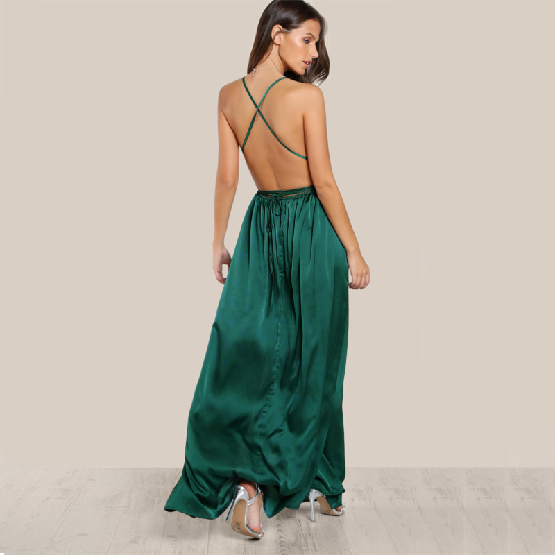 COLROVIE Sexy High Slit Satin Maxi Party Dress 2017 Women Plunge Neck Cross Back Summer Dresses Green Sleeveless Wrap Cami Dress 11