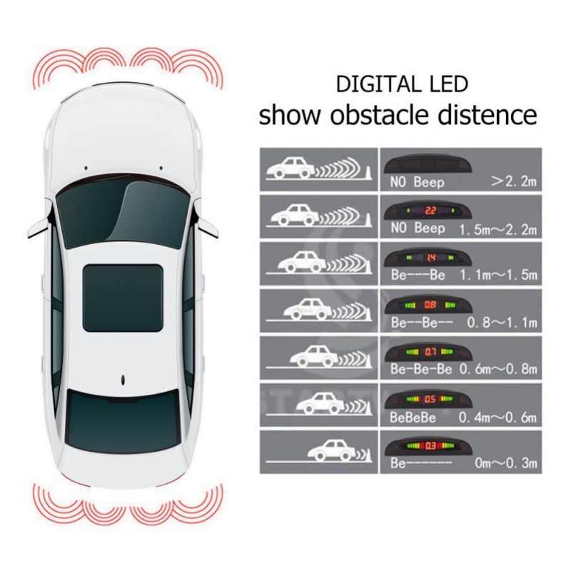 Реверсивный радар беспроводной светодиод Видимый голосовой зуммер ЖК Автомобильный парктроник-радар с высоким качеством беспроводной датчик парковки системы