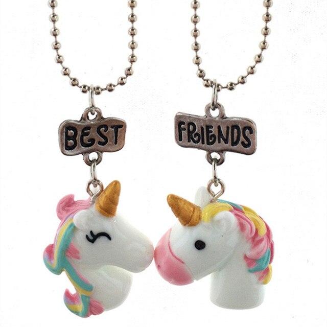 Onnea 2 Pcs/Set Horse Pendant Best Friends Necklace for Kids Girls BFF Friendship Necklace Jewelry