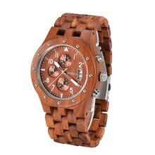 BEWELL Mens Unique Wooden Watch Quartz Movement Lightweight Time Luminous Date Vintage Analog Wristwatch dropship supplier 109D