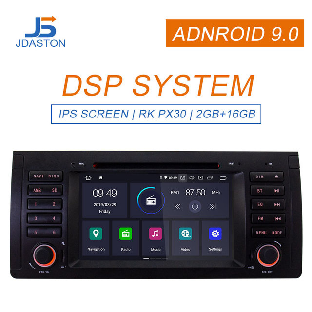 JDASTON Android 9.0 Car multimedia player For BMW X5 M5 E39 E53 GPS Navigation 1 Din Car Radio Stereo WIFI AutoAudio Canbus