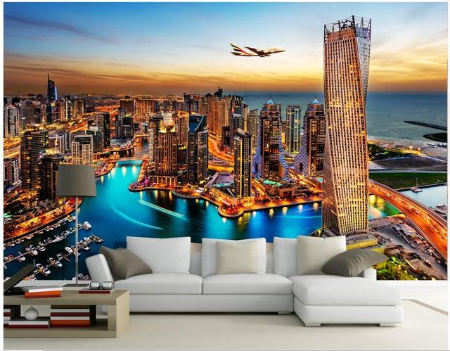 3d Room Wallpaer Custom Photo Non Woven Mural Night At Dubai Tv