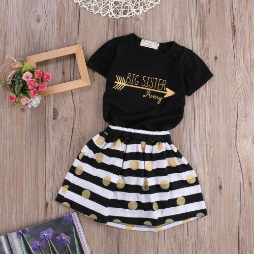 Cute Toddler Infant Kids Girls Summer Tops T-Shirt Striped Skirt Outfits