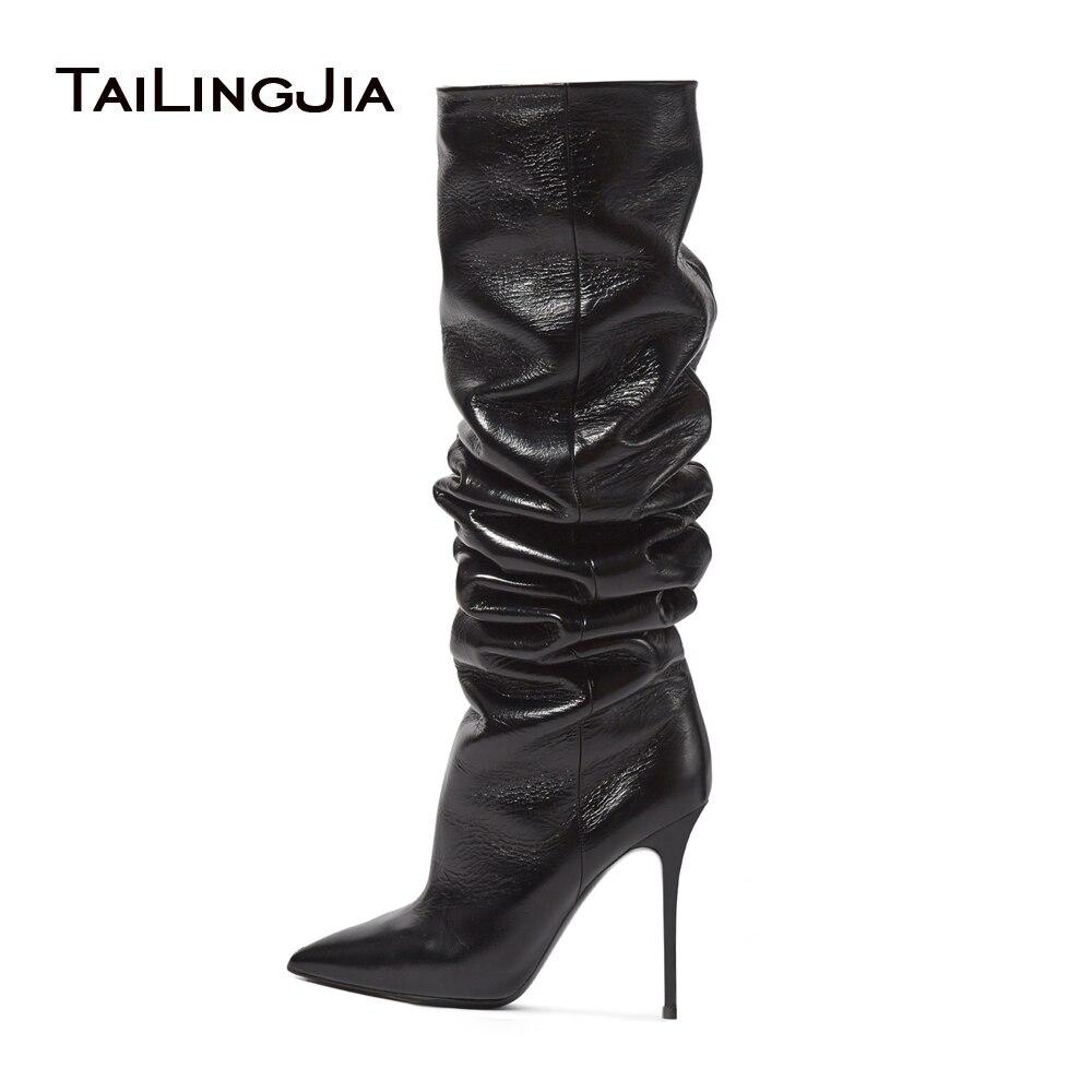 2017 женские сапоги до колена на высоком каблуке с острым носком коричневого и синего цвета, черные женские зимние сапоги, большие размеры, оп