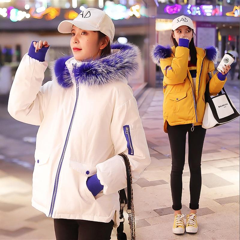 Court Veste 2018 Coréenne marine Coton blanc bleu montage Le Coton Épais Vers Hiver Femmes Version Nouvelle Bleu Noir rembourré Lâche Bas Avec jaune De 6rw8X6