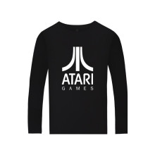 ATARI Logo of Atari Printed Long Sleeve T-shirt Arcade enthusiasts Atari Games Oversized Long T Shirt Men Spring Cotton Tees