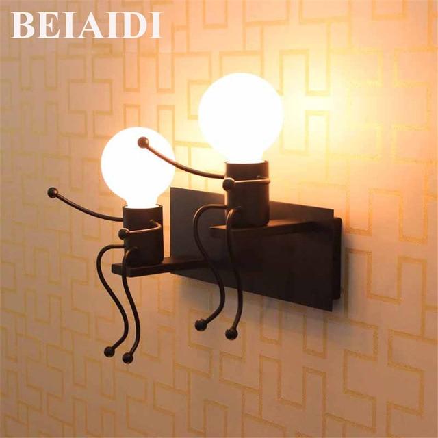 BEIAIDI Modern Iron LED Wall Lamp Creative Cartoon Doll Mounted Sconce Balcony Stair Porch Restaurant Bar Bedroom Wall Light