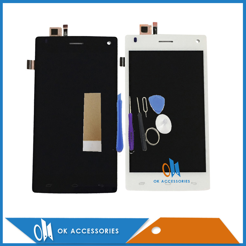 For Fly FS452 FS 452 LCD Display+Touch Screen Digitizer Assembly Black White Color High Qualityt With Tools Tape 1PC/Lot