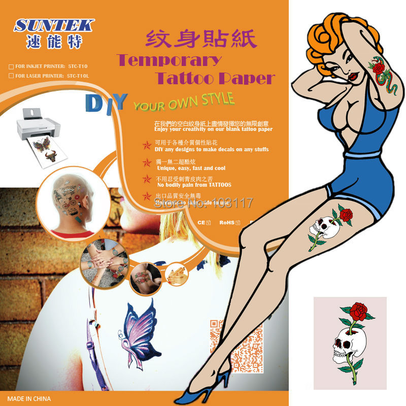 Temporary Tattoo Sticker Films Blank Transfer Paper A4 Size White And Fake Nail With Health