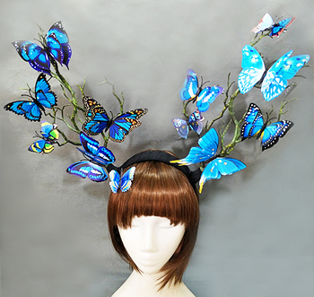 Women's Gothic Tree Branches Antler Hair Accessories Butterfly Hairband Photography Costume Headpiece 1