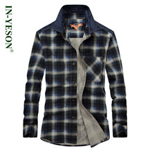 plaid shirt men long sleeve casual IN-YESON slim fit men dress shirt breathable