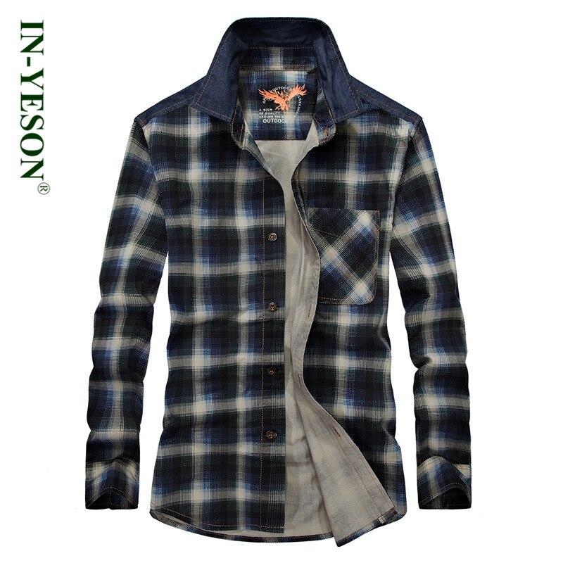 Marque chemise à carreaux hommes à manches longues chemise décontractée  hommes IN-YESON slim fit loisirs hommes robe chemise respirant camisa  sociale ... 1b845cf3779